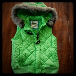 Justice 12 Lime Green Quilted Puffer Vest Hood EUC